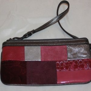 COACH Pink & Silver Patchwork Wristlet